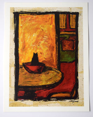 """Cat In The Bowl"" Print"