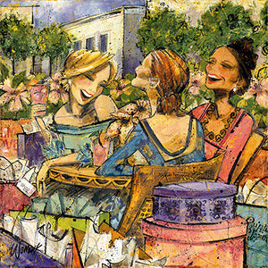 "Special - Women and Wine® Komen(Susan G. Komen Auction Painting) Shop For the Cure Edition 10""x10"""