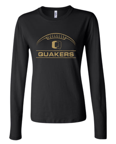 QV 7TH/8TH GRADE FOOTBALL *GLITTER DESIGN* COTTON LADIES FIT LONG SLEEVE