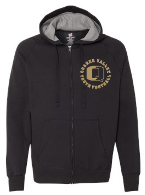 QV YOUTH FOOTBALL COTTON HOODED FULL-ZIP SWEATSHIRT (YOUTH & ADULT)