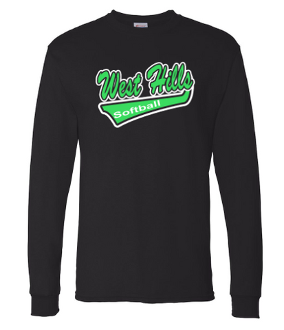 WEST HILLS SOFTBALL BLACK COTTON BLEND LONG SLEEVE (YOUTH & ADULT SIZES)