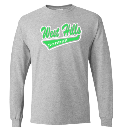 WEST HILLS SOFTBALL GREY COTTON BLEND LONG SLEEVE (YOUTH & ADULT SIZES)