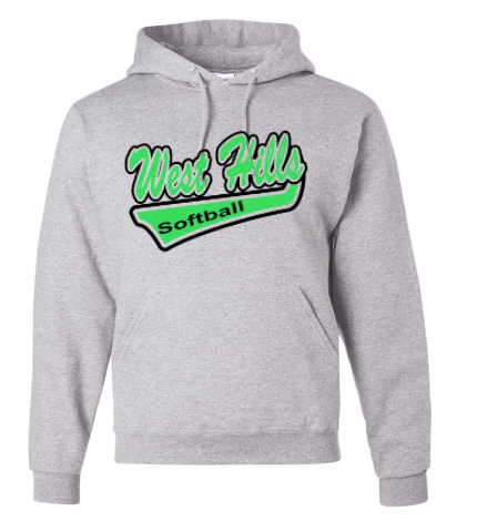 WEST HILLS SOFTBALL COTTON BLEND HOODED GREY SWEATSHIRT (YOUTH & ADULT SIZES)