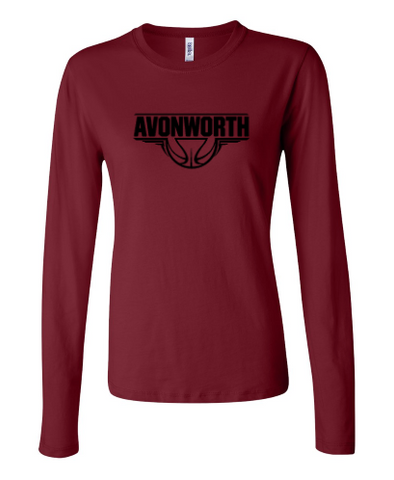 AVONWORTH BASKETBALL RINGSPUN SOFT COTTON LADIES FIT LONG SLEEVE