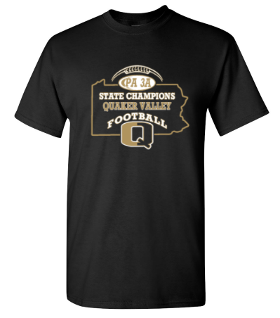QV FOOTBALL STATE CHAMPS OFFICIAL T-SHIRT WITH CHOICE OF BACK DESIGN