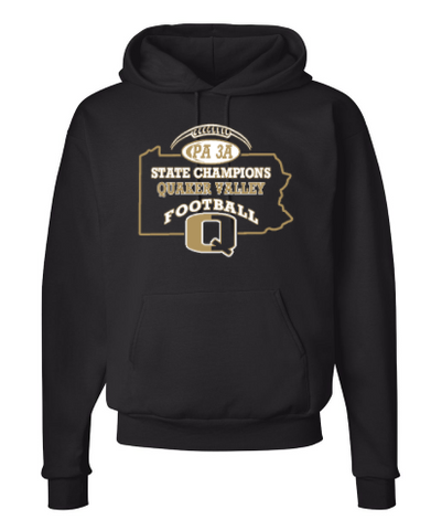 QV FOOTBALL STATE CHAMPS OFFICIAL HOODED SWEATSHIRT WITH CHOICE OF BACK DESIGN