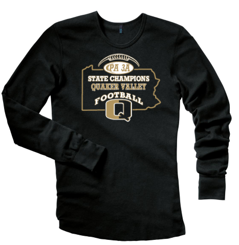QV FOOTBALL STATE CHAMPS OFFICIAL THERMAL WITH CHOICE OF BACK DESIGN