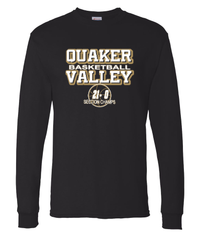 QUAKER VALLEY BASKETBALL 21-0 LONGSLEEVE T-SHIRTS (YOUTH & ADULT SIZES)
