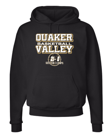 QUAKER VALLEY BASKETBALL 21-0 HOODED SWEATSHIRT (YOUTH & ADULT SIZES)