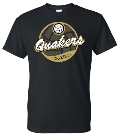 QUAKERS VOLLEYBALL RINGSPUN SOFT COTTON V-NECK SHORT SLEEVE