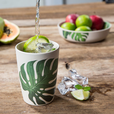 Drinking Cup Set - Leaf Print (4 Pack) - Naturally Chic