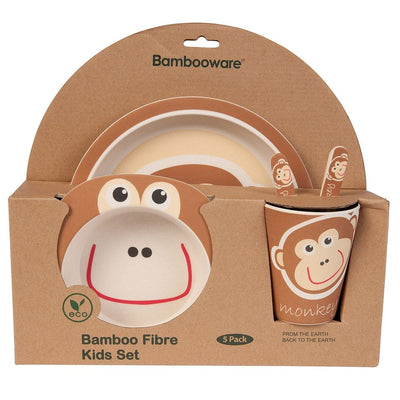 Kids Dinnerware Set - Monkey (5 Pieces) - Naturally Chic