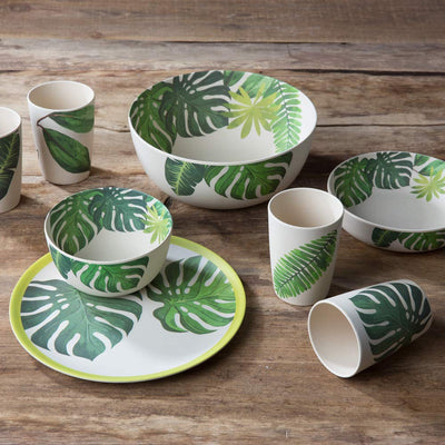 "10"" Round Plates - Leaf Print (4 Pack) - Naturally Chic"