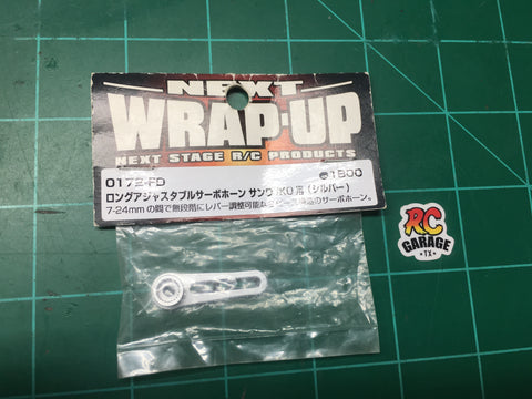 Wrap Up Next Aluminum Long Adjustments Servo Horn Silver For Sanwa KO PROPO Servo (0172-FD)