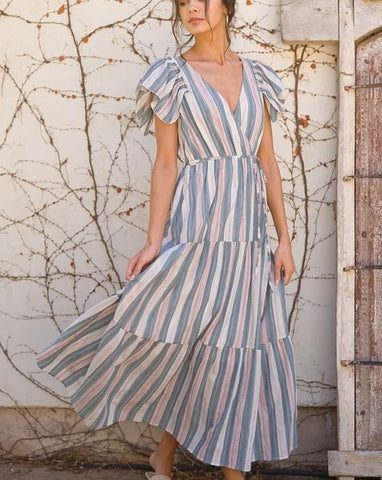 SOMETHING TO TURN TO TIERED MAXI DRESS