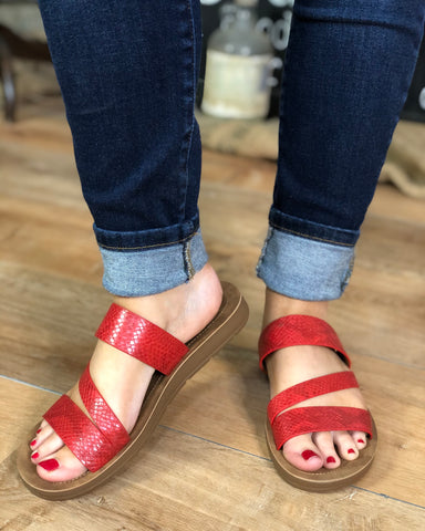 LYDIA SANDAL BY CORKY'S - RED SNAKE