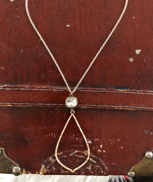 TEXTURED TEARDROP 12mm CLEAR CUSHION CUT NECKLACE