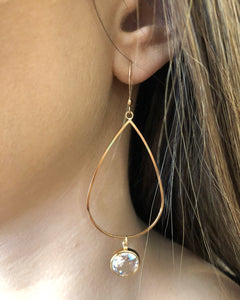 OPEN TEARDROP EARRING WITH CRYSTAL DROP