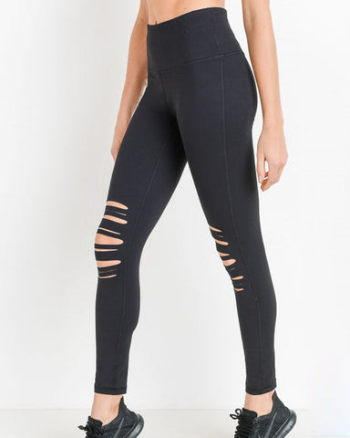 HIGHWAIST SHREDDED KNEE LEGGINGS