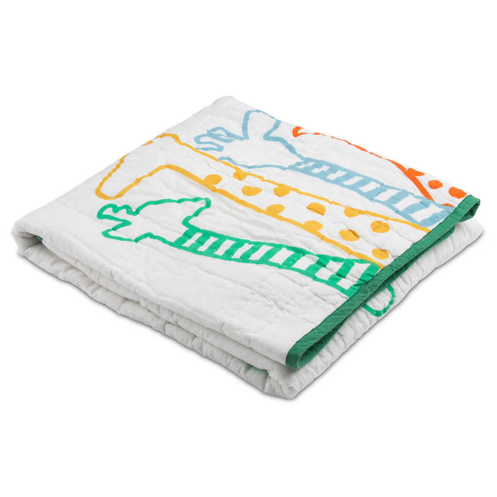 Giraffe Family in Green Trim Reversible Baby Quilt