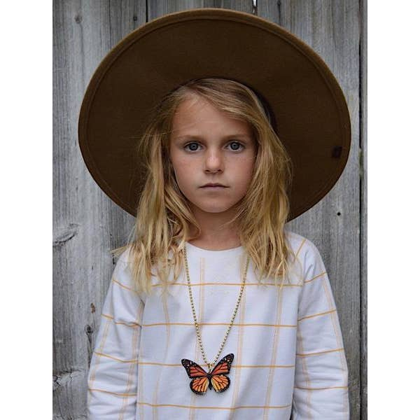 Monarch Wood Butterfly Necklace by Gunner & Lux