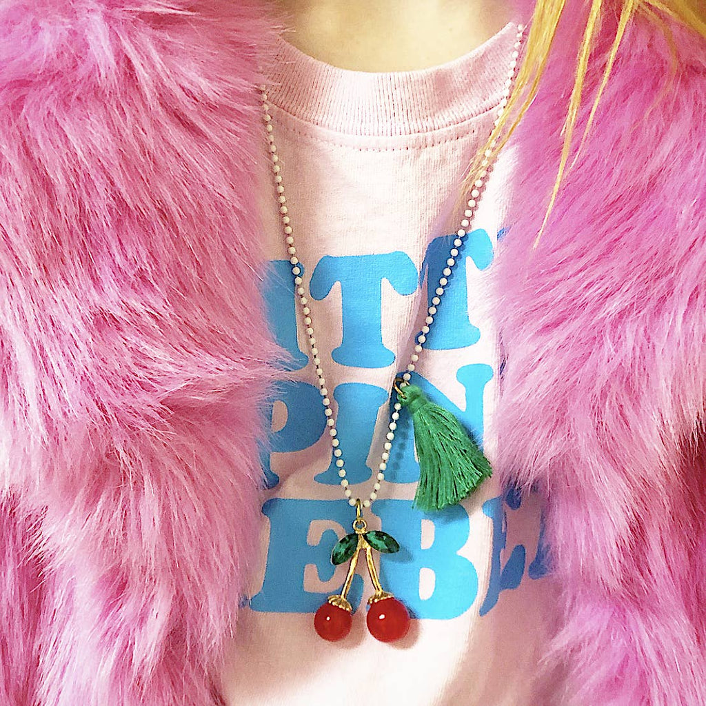 Rhinestone Cherries Necklace by Gunner & Lux
