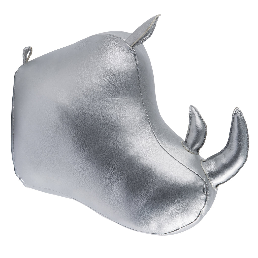 Silver Rhino Mounted Head