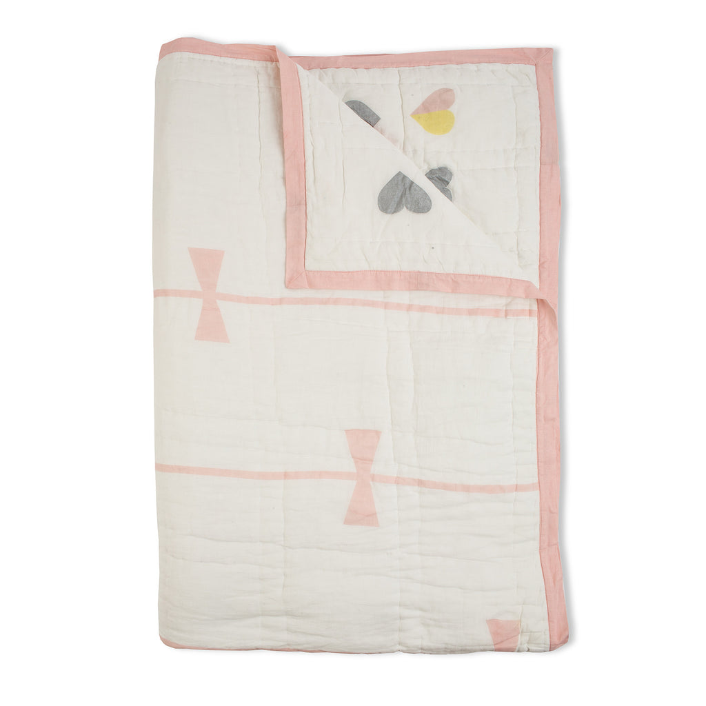 Hearts & Bows Reversible Twin Quilt