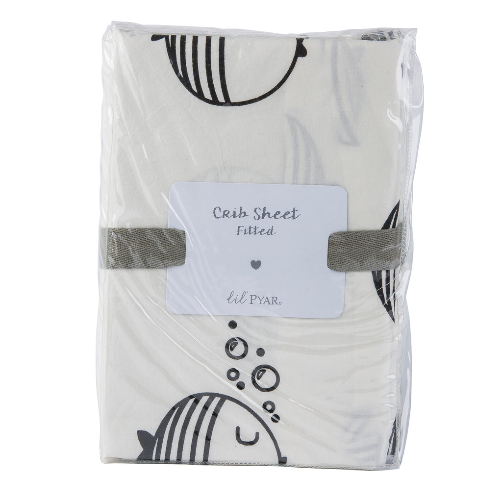 Black & White Fish Crib Sheet