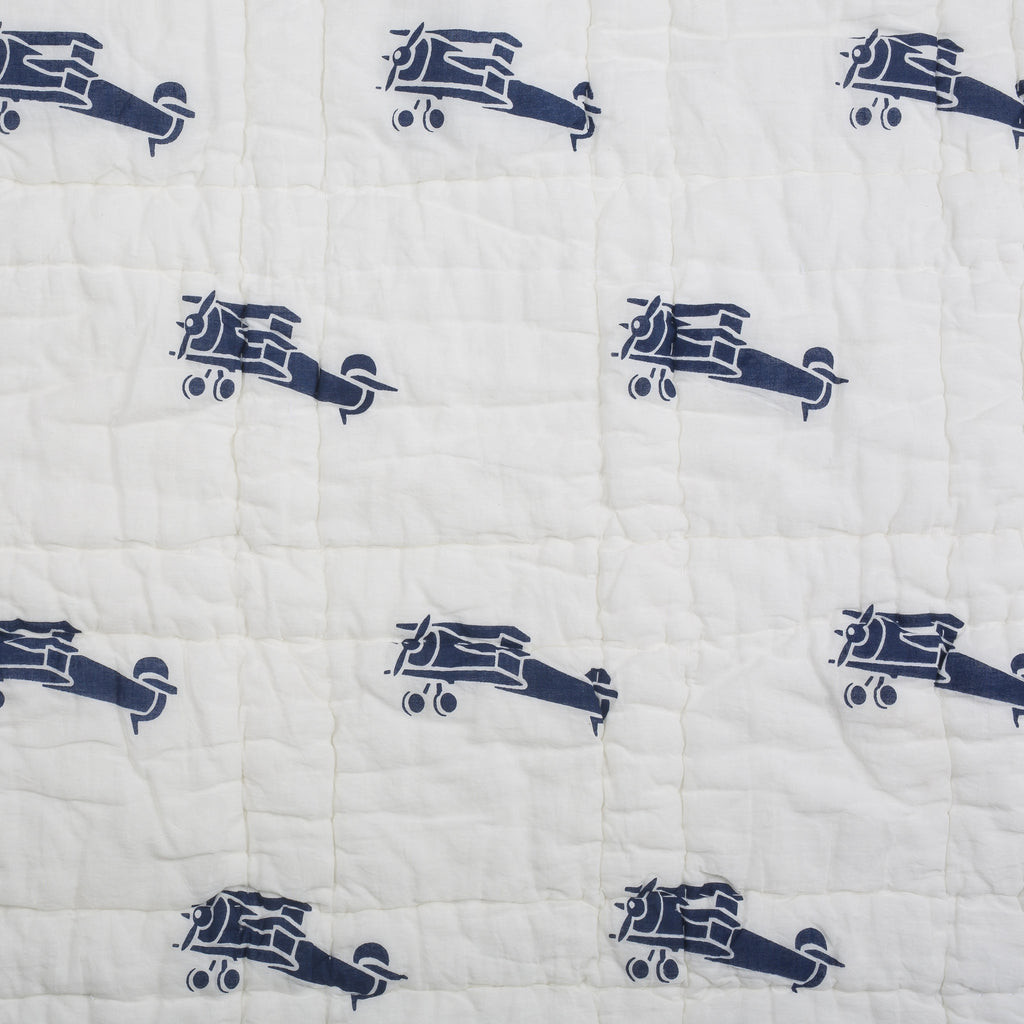 Navy Airplanes Twin Quilt