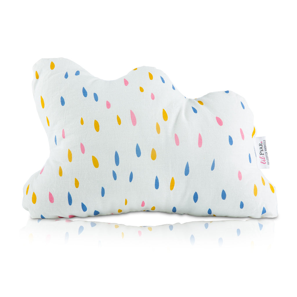 Lil' Pyar Cloud Pillow, Pink Raindrops
