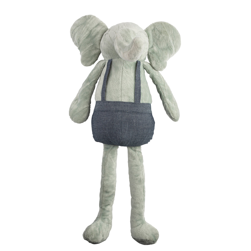 Gray Elephant Huggie Doll, denim overalls