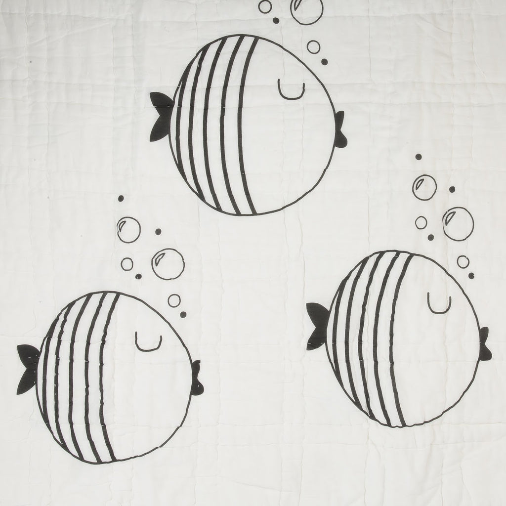 Fish & Bubbles Reversible Baby Quilt