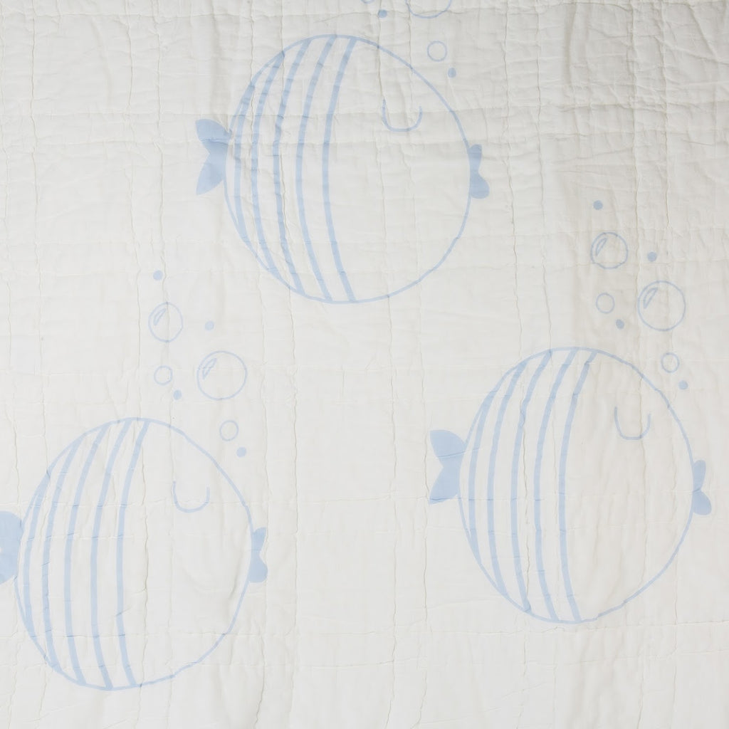 Light Blue Fish  Reversible Baby Quilt