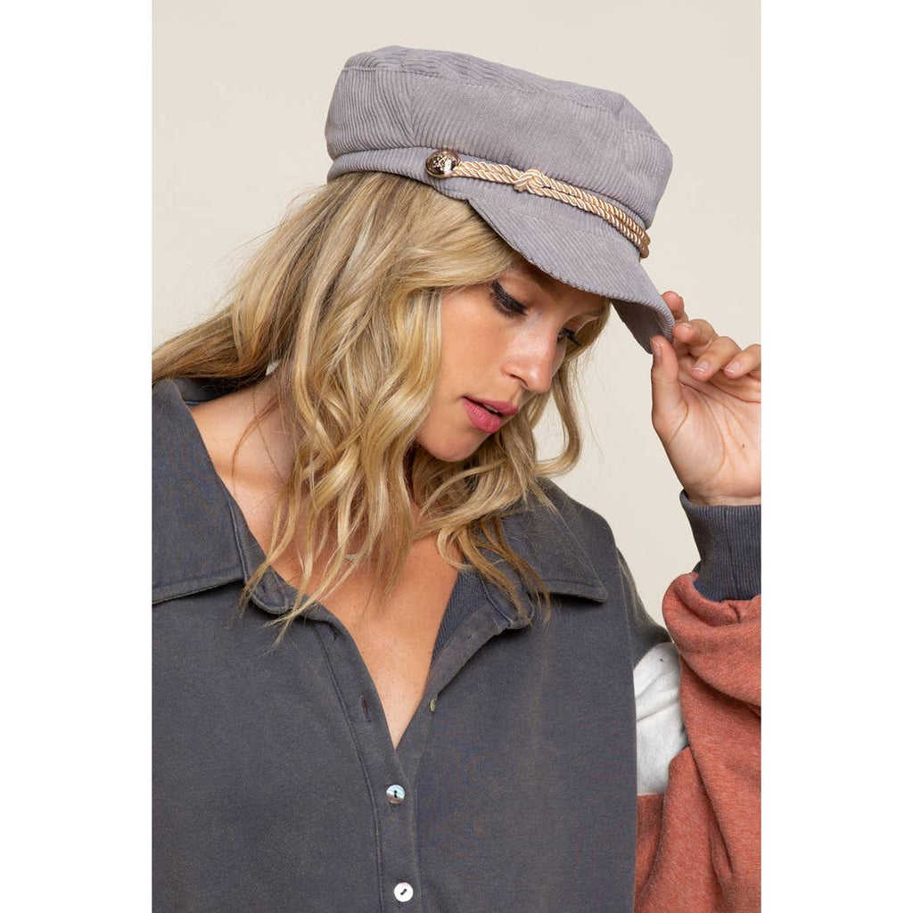 GRAY Corduroy Newsboy Hat