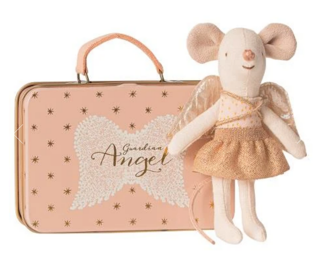 Guardian Angel Mouse in suite case, little sister