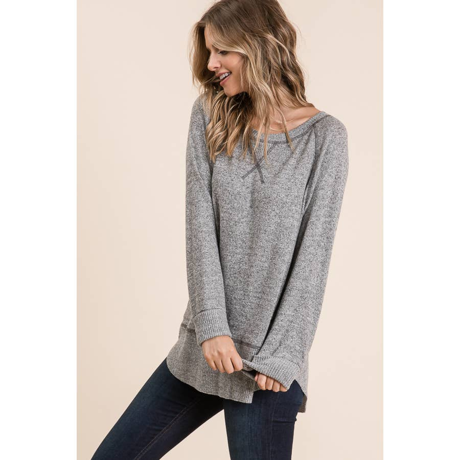 Heather Gray Tiger Brush Boatneck Sweater