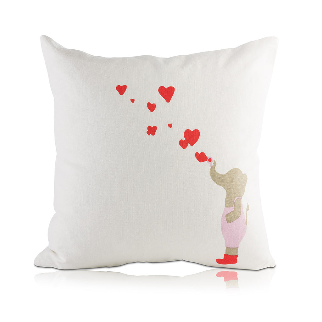 Elephant Blowing Heart Bubbles Pillow Cover