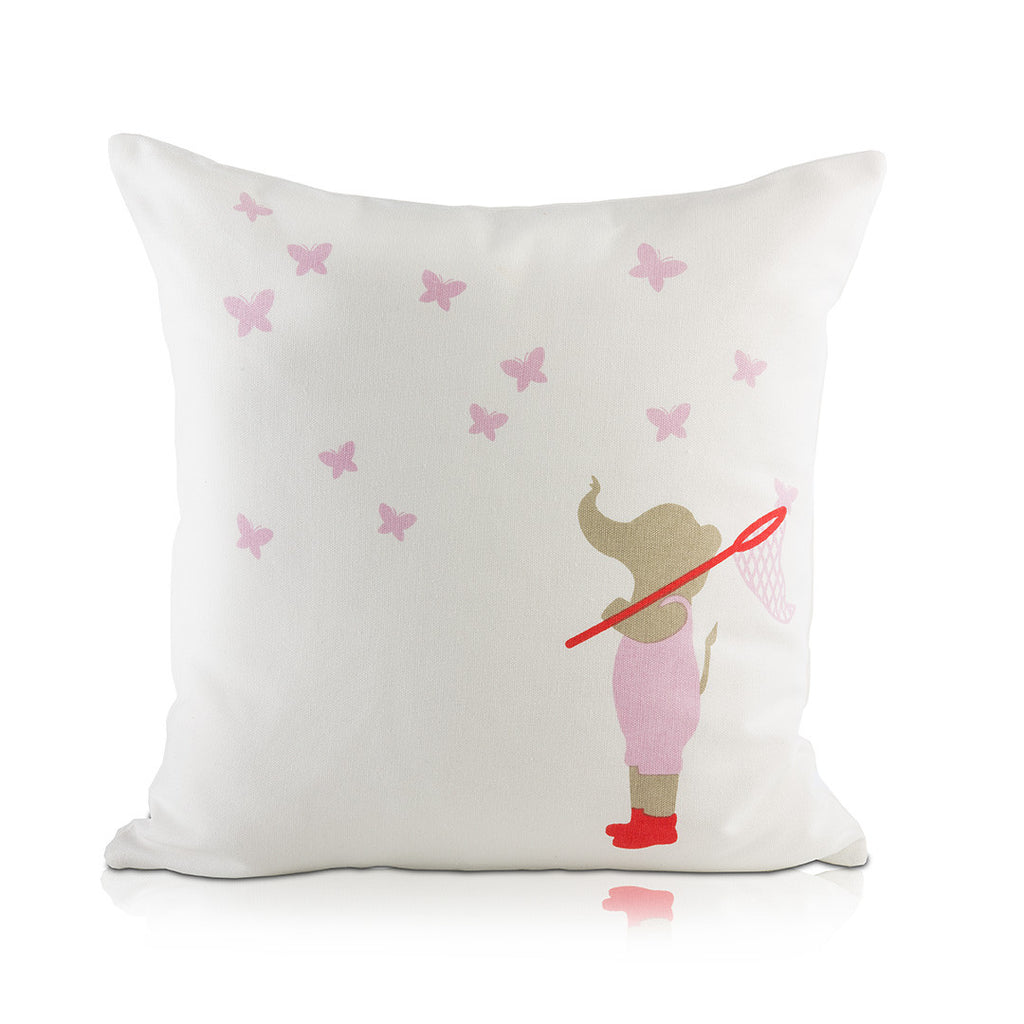 Elephant & Butterflies Pillow Cover