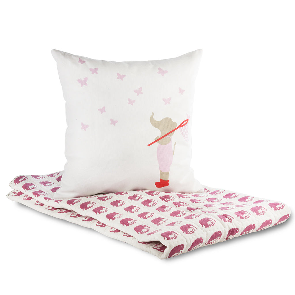 Lil' Pyar Elephant & Butterflies Pillow Cover