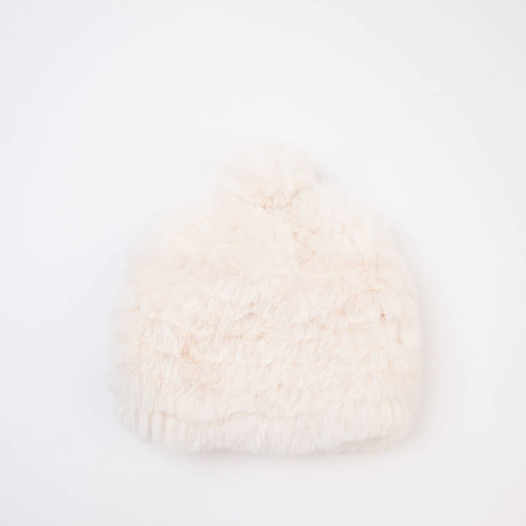 Ivory Little Bear Faux Fur Beanie