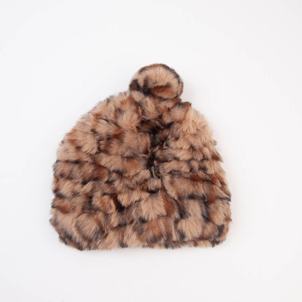Leopard Little Bear Faux Fur Beanie