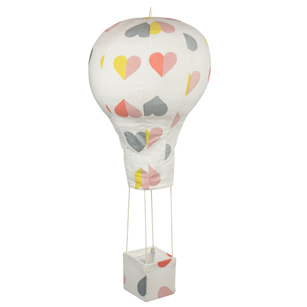 White Hearts Hot Air Balloon Mobile