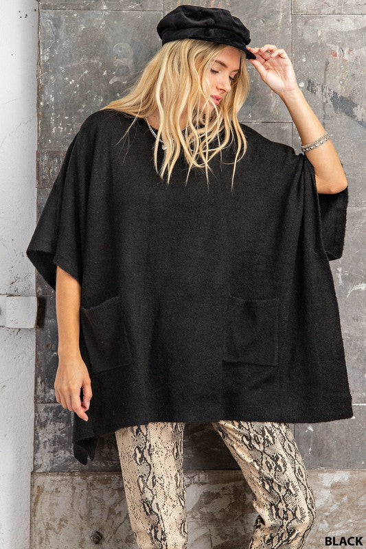 Charcoal, Poncho Sweater