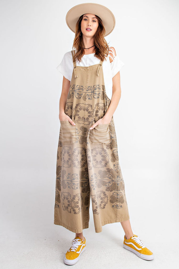 PRINTED WIDE LEG TWILL OVERALL JUMPSUIT