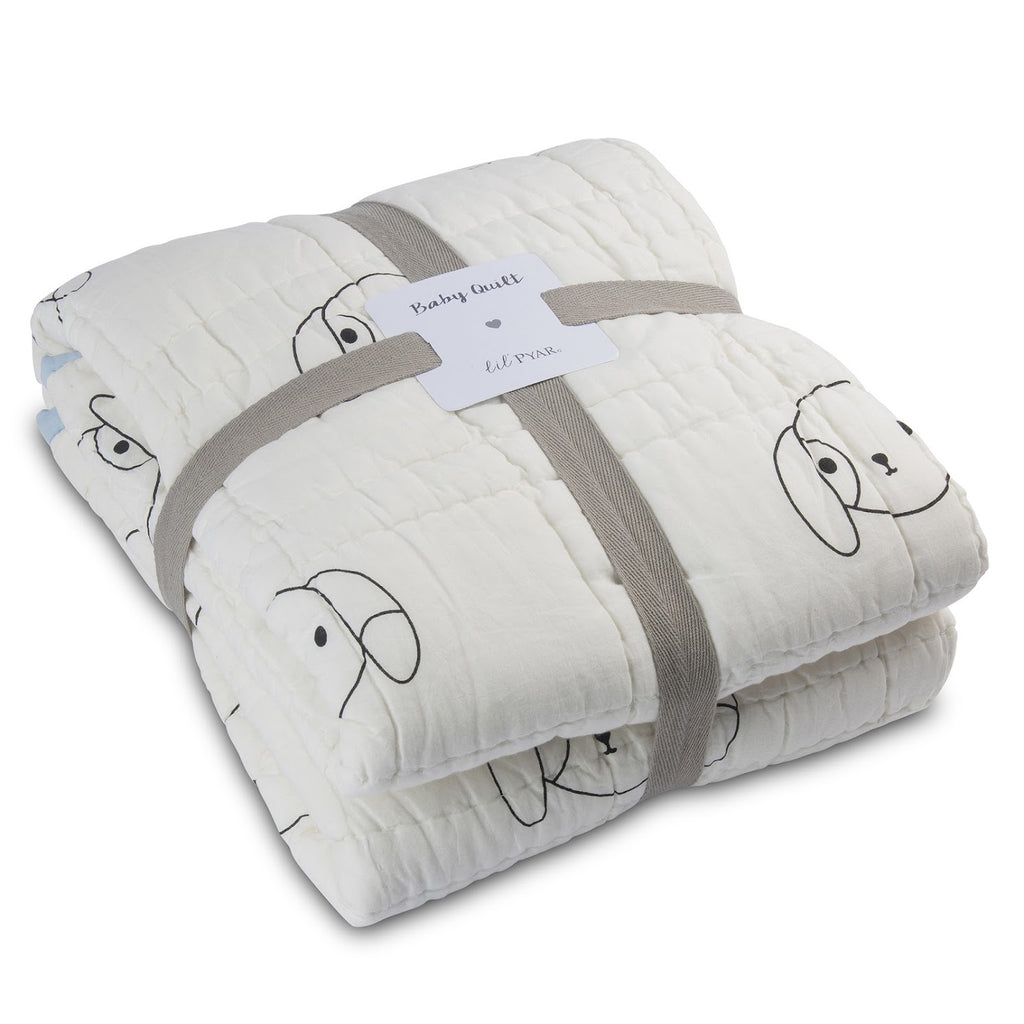 Light Blue Puppy Reversible Baby Quilt