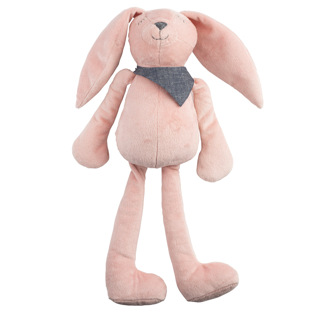 Bunny Plush Huggie with Denim-Gray Kerchief