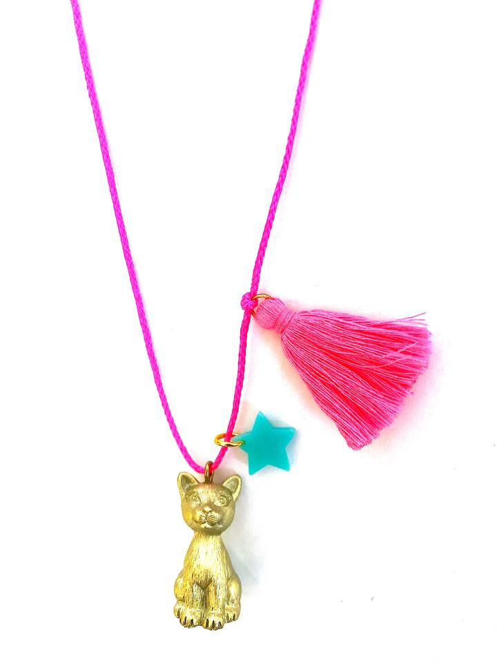 Sawyer the Gold Cat Necklace by Gunner & Lux