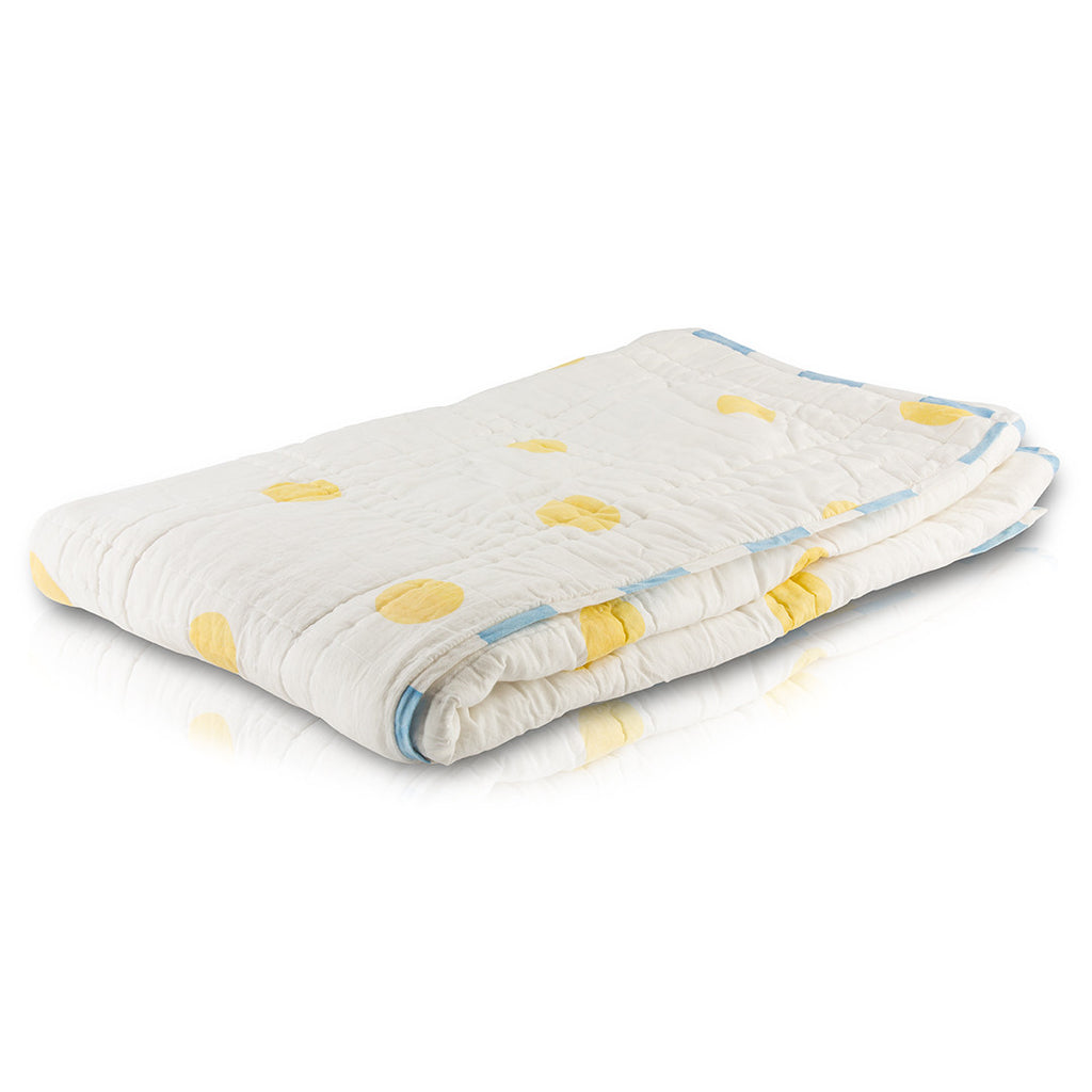 Natural Giraffes Reversible Baby Quilt