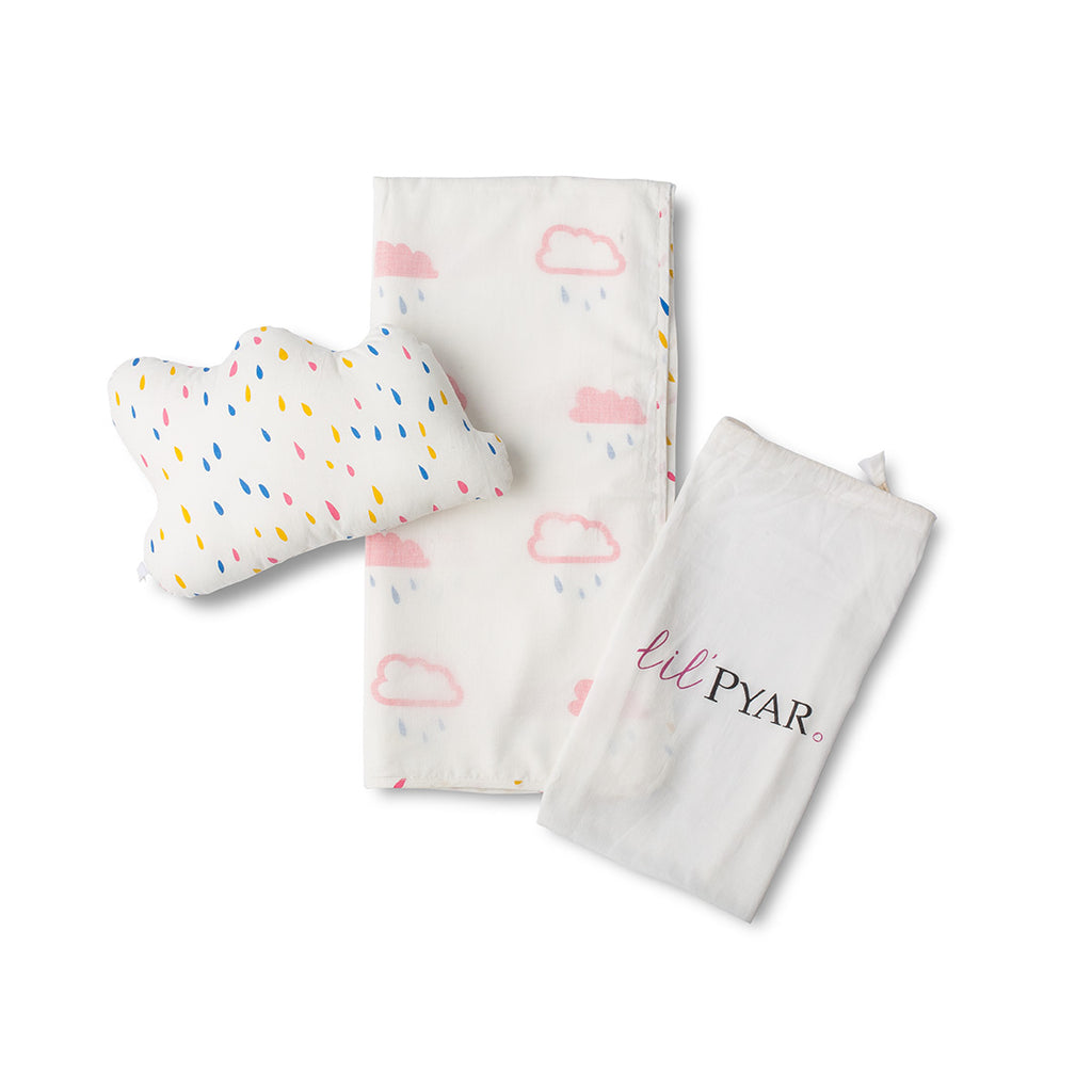 Pink Cloud with Raindrops Baby Blanket